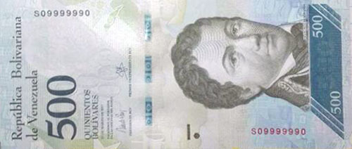 Banknote with 7 digits of-a-kind serial number, binary serie and radar serial number