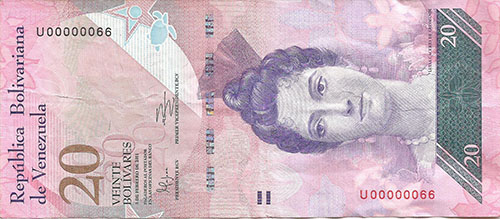 Banknote with Binary serie, 6 digits in-a-row serial number, doubles serial number and low serial number level 4
