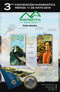 Souvenir specification poster of the 3rd Numismatic Convention of Merida, May 2019