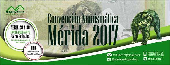 Poster of the I Numismatic Convention of Merida, April 2017