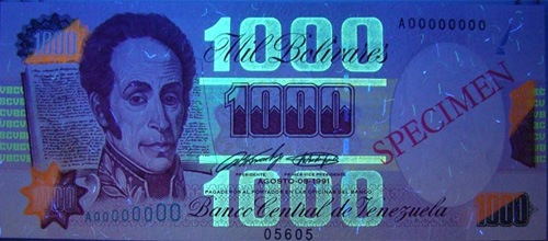 Piece bbcv1000bs-aa01s (Obverse, under ultraviolet light)